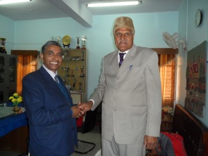 Mr. Mahesh Pandey,State School Principal, on the left, with his colleague from the Cambridge School of Sardarshahar