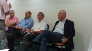 from left to right: Charles Enderlin, Dany Dayan,  Marius Schatner and Avraham Burg