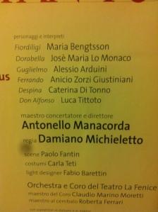 Cosi Fan Tutte May 2013