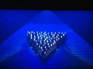 Inverted David Star during the Va Pensiero...which becomes a heart at the end